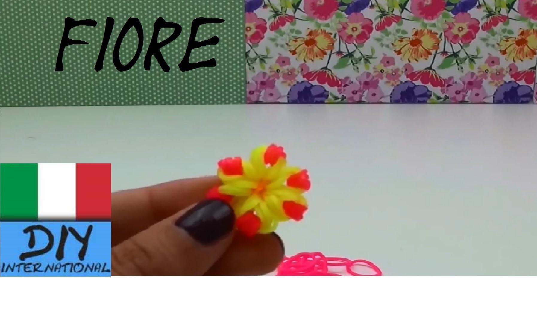 Come realizzare ciondolo a fiore loom all´uncinetto - Fiore con Elastici tutorial