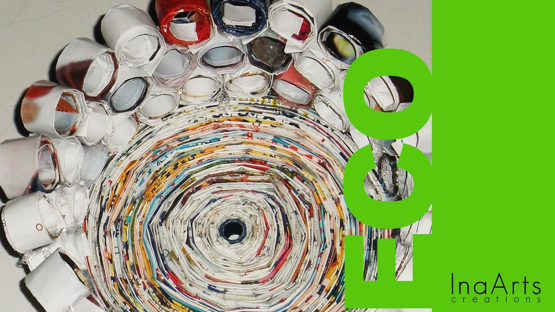 How to Make a Vase out of Magazines.CESTINO FATTO CON I MATERIALI DI RICICLO