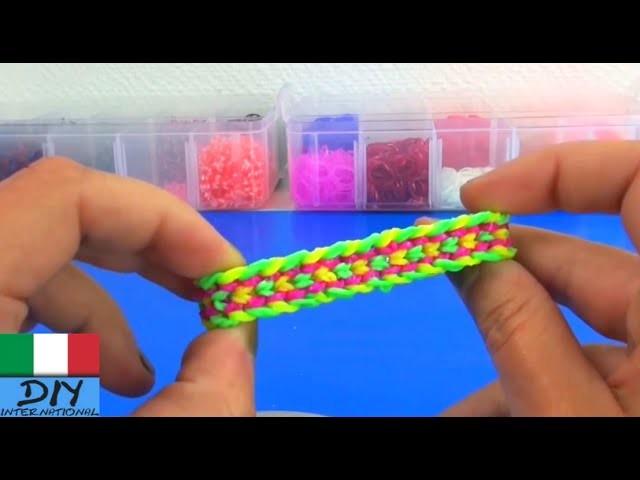 Bracialetto con elastici loom doppie scaglie di drago tutorial tedesco