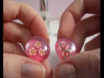 Cabochon effetto murrina con gemme di vetro