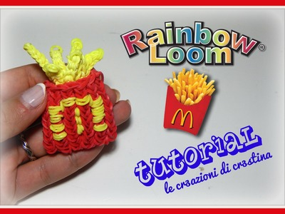 Tutorial Patatine Fritte del Mc Dondald's 3D con Elastici RAINBOW LOOM - DIY French Fries Charm