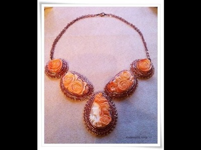 Collana con cammei scolpiti a mano, anelli labradorite e druzy| handmade shell carved cameo