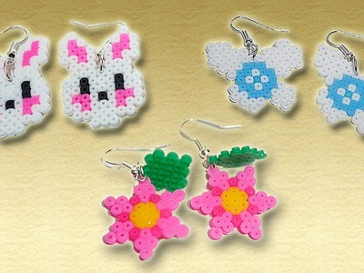Tre paia di Orecchini con Hama Beads.Earrings Perler Beads Tutorial