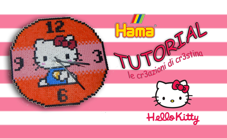 Orologio da Parete HELLO KITTY con Hama beads.Pyssla (Funzionante!) - DIY Wall Clock Tutorial