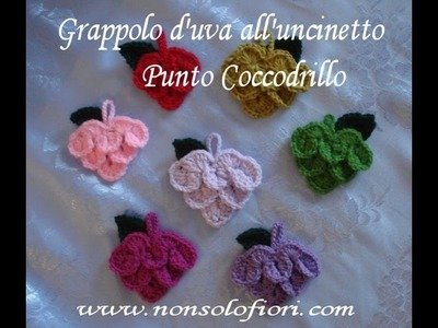Grappolo uva uncinetto-Crochet bunch grapes-Punto coccodrillo