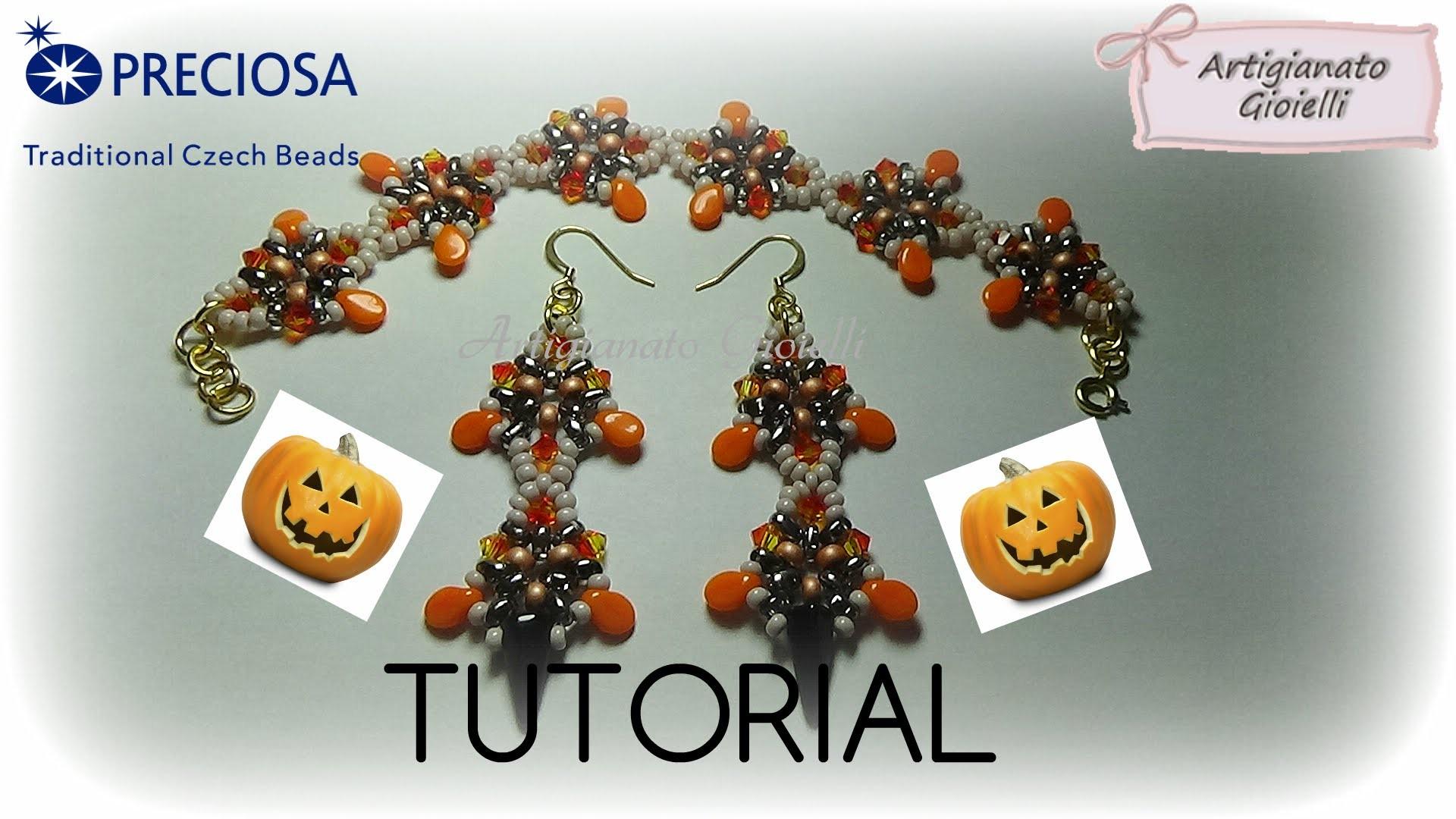 Tutorial Perline Halloween - Come fare orecchini con twin bead e pip