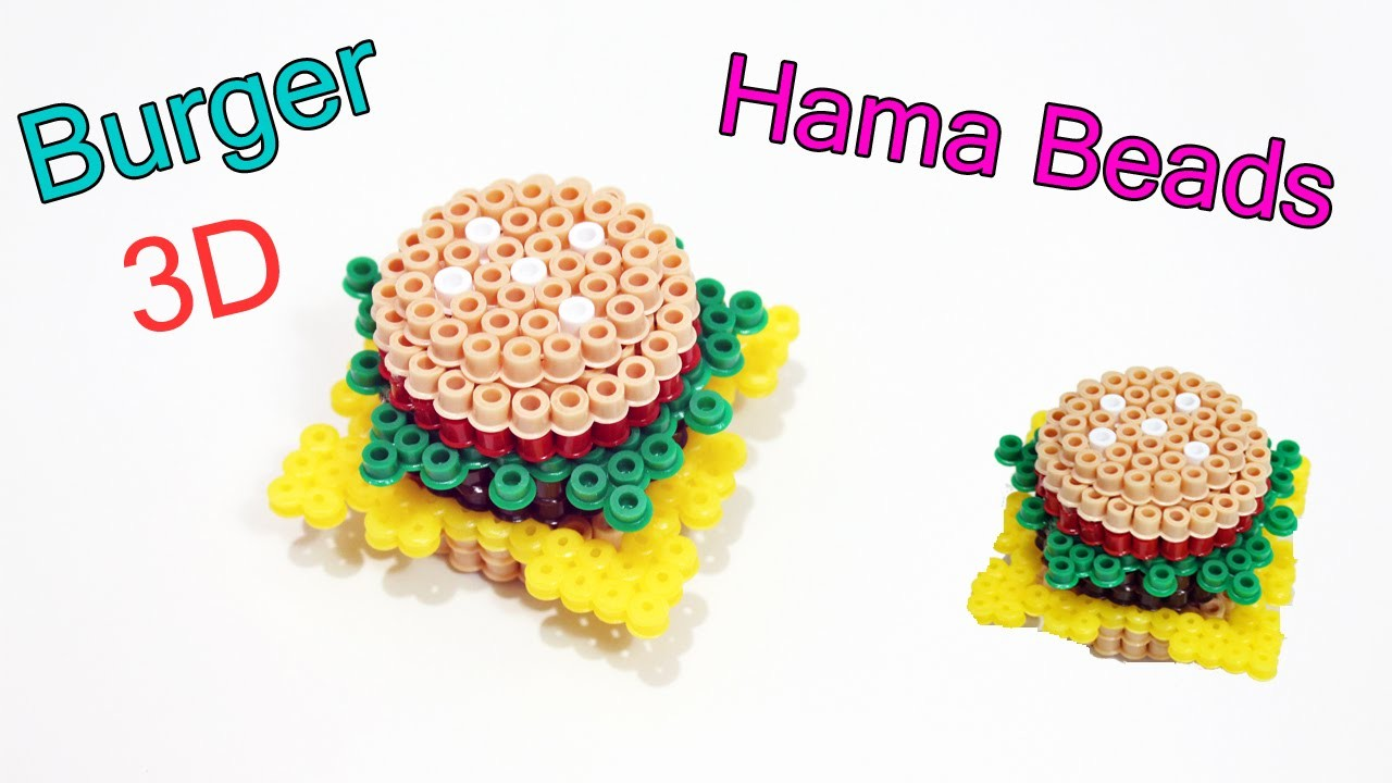Panino.Hamburger 3D con Hama Beads ✯ Perler Bead 3d burger✯