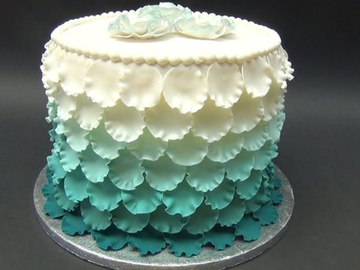 Torta con petali effetto degrade' , How-to make an Ombre Ruffle Cake