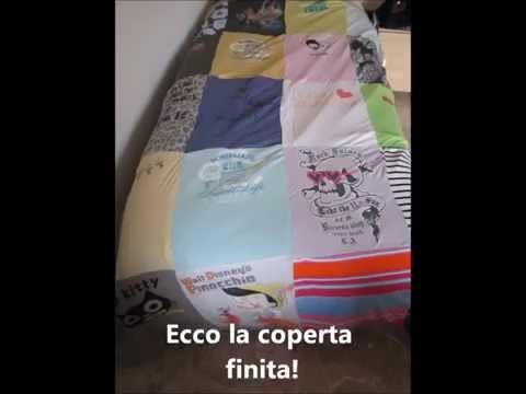 Coperta. copriletto con le T-shirt DIY