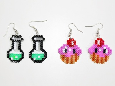 Due paia di Orecchini : Pozione e Cupcake con Hama Beads.Earrings Perler Beads Tutorial