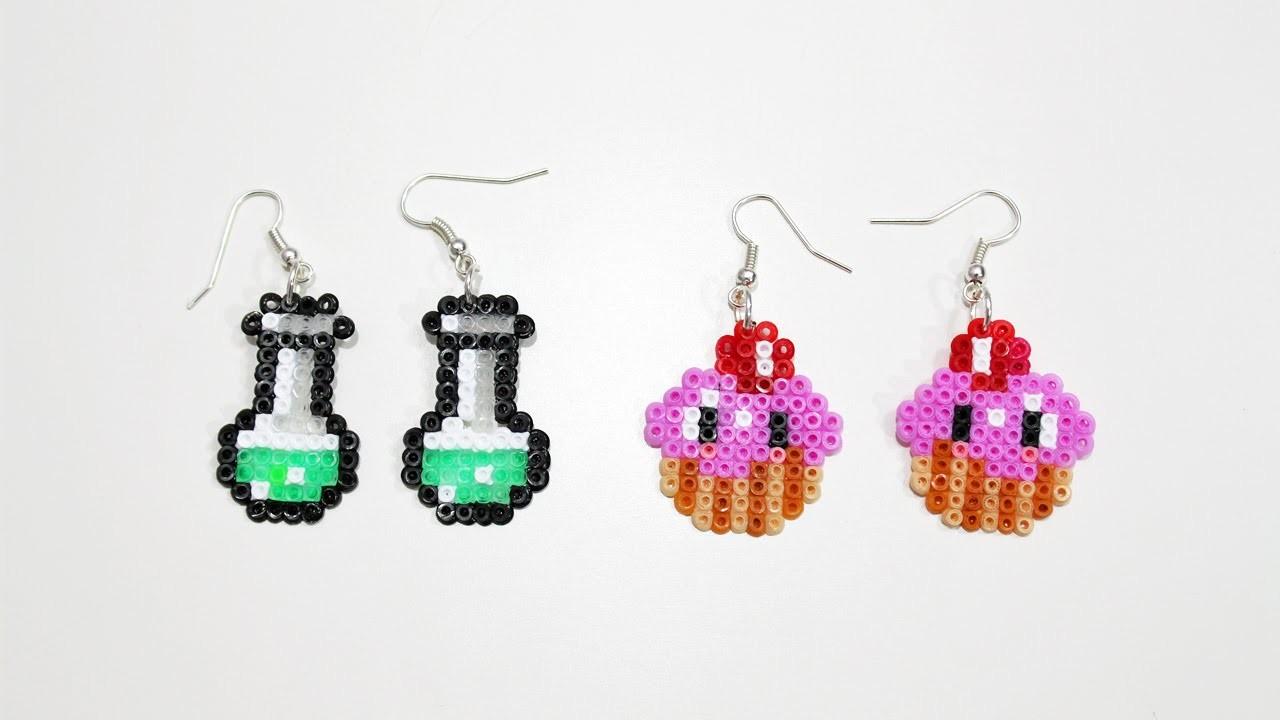 Due paia di Orecchini : Pozione e Cupcake con Hama Beads.Earrings Perler Beads Tutorial