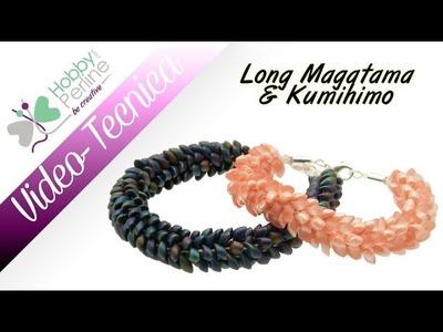 Bracciale con long magatama & kumihimo | TECNICA - HobbyPerline.com