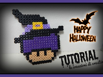 Streghetta di HALLOWEEN con Hama beads.pyssla - DIY Witch Super Mario Mushroom Tutorial