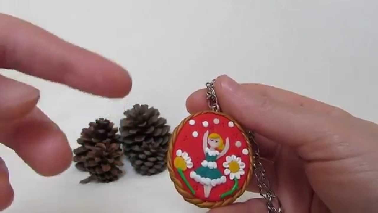 Cammeo artigianale, ballerina tra i fiori, realizzato in fimo ( polymer clay ). Coccinelle Creative