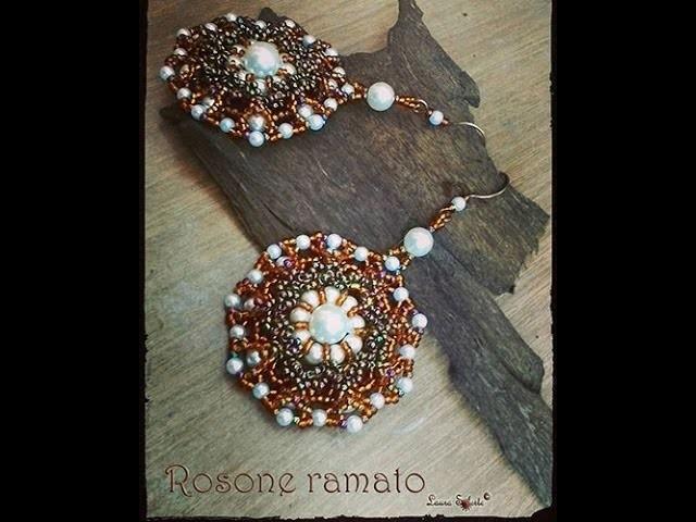 """Orecchini """"Rosone ramato"""" : DIY tutorial gioielli di perle e perline"""