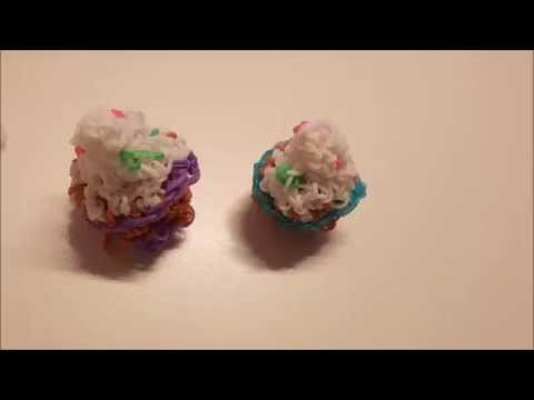 Cupcake 3d my version con elastici rainbow loom all'uncinetto