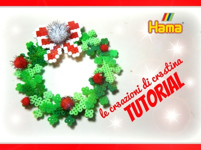 Ghirlanda Natalizia con HAMA BEADS.PERLER BEADS.PYSSLA - DIY Holly Christmas Door Decoration