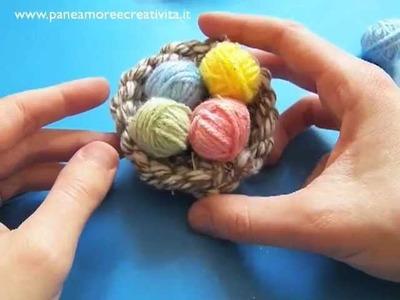Decorazioni di Pasqua fai da te: nido e ovetti di lana