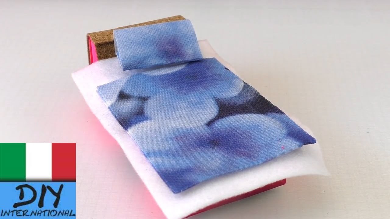 Mobili bricolage | letto per le bambole fai da te (letto bambole con scatole fiammiferi)