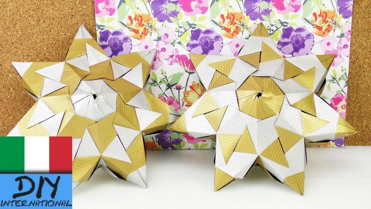 Stella Fai da te | Stella di carta piatta di 21 elementi con 7 punte | Come fare una Stella 3D