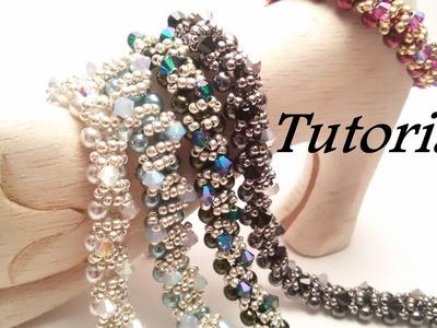 TUTORIAL Bracciale Ghirlanda con Perle Preciosa e Bicono | Christmas bracelet TUTORIAL