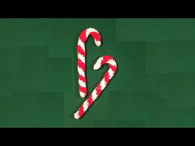 Bastoncini di zucchero all'uncinetto - crochet candy cane -  bastón de caramelo en crochet