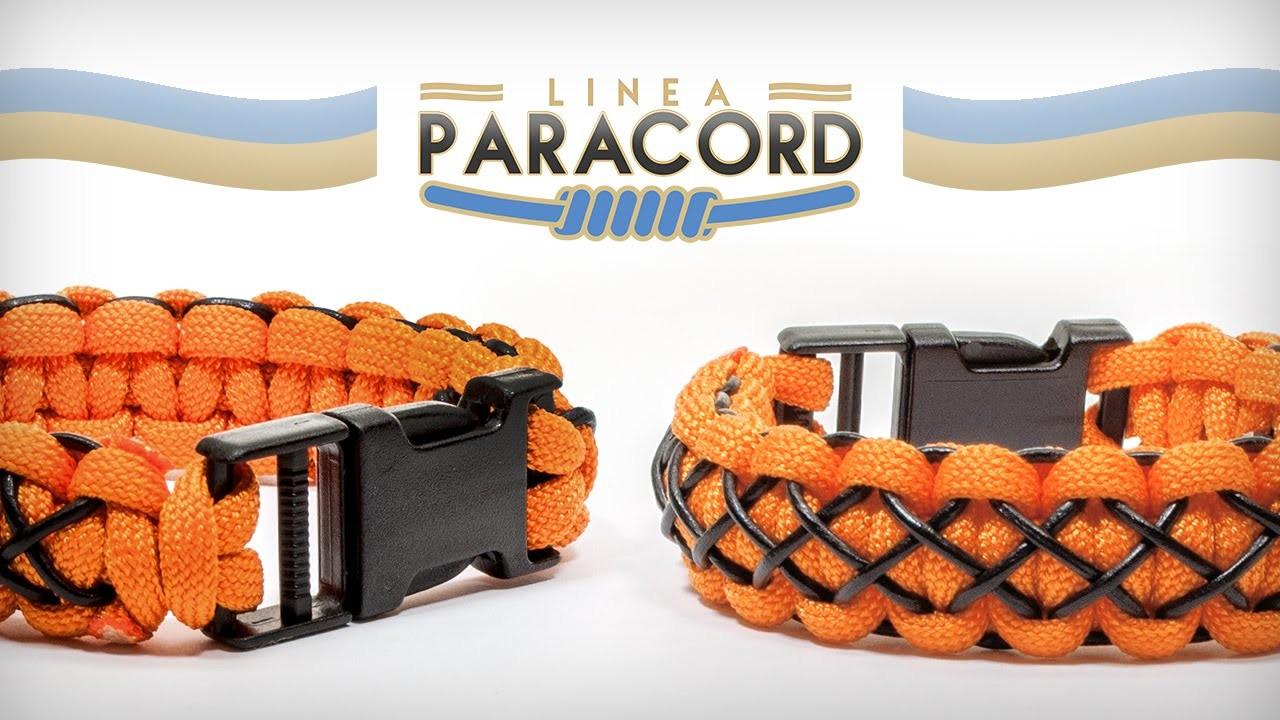 Linea paracord - Bracciale rifinito con cordino in cuoio (Tutorial Italiano)