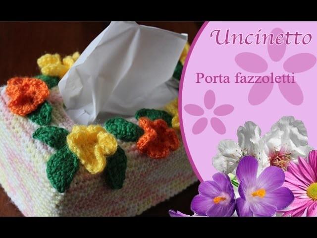 Uncinetto: porta fazzoletti fiori e foglie