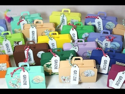 Scatola Valigia Tutorial-Mini suitcase Box-Sizzix XL Die 657124 Tiny Suitcase-Bomboniere Fai da te