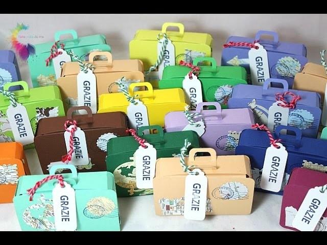 Scatola Valigia Tutorial-Mini suitcase Box-Sizzix XL Die 657124 Tiny Suitcase-Bomboniere Fai da te