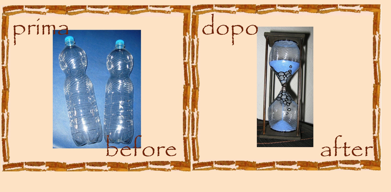 Riciclo creativo bottiglie di plastica: clessidra -faidate- tutorial