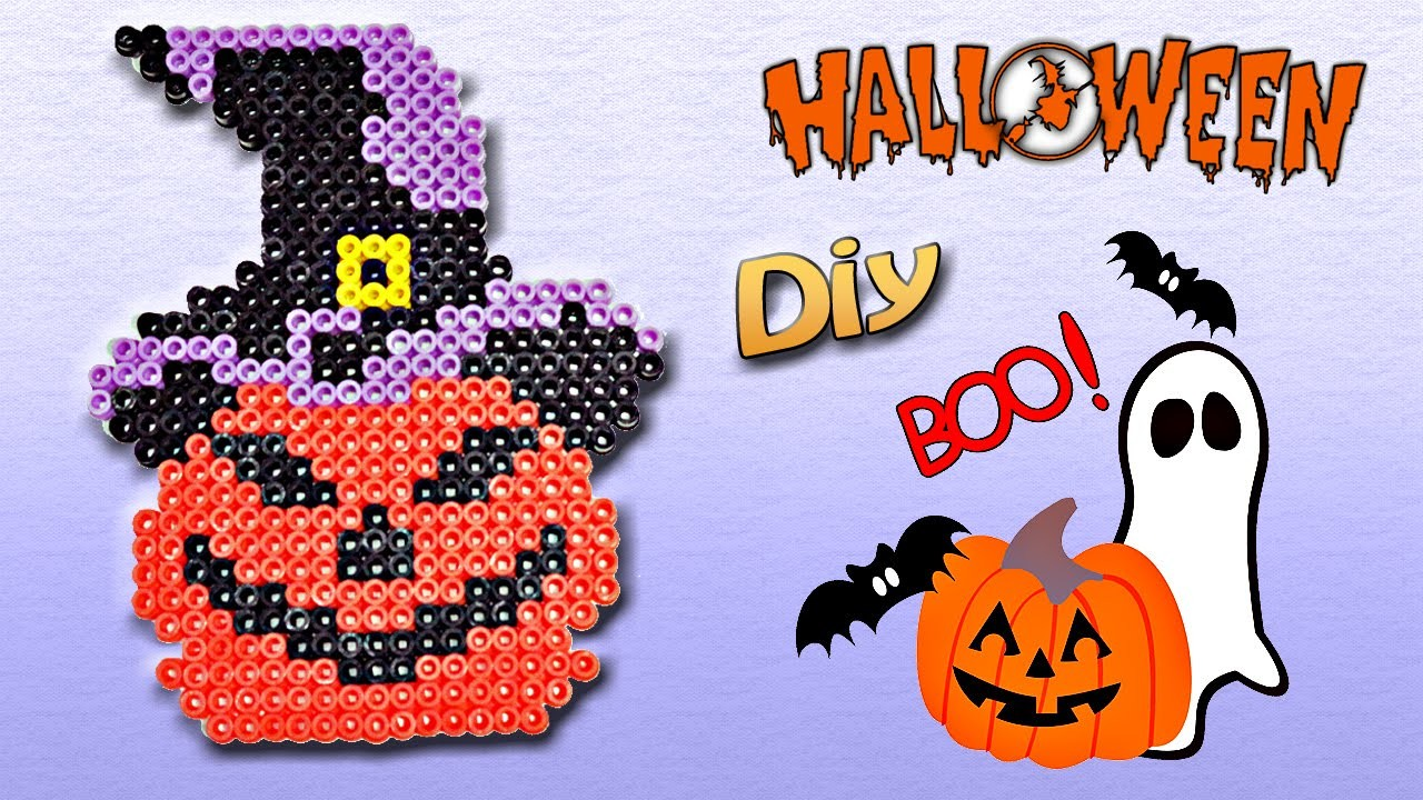Halloween Zucca con Hama Beads.Perler Beads Pumpkin Tutorial