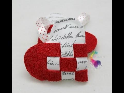 Cuori intrecciati in feltro o gomma crepla-Heart basket DIY-Idea San Valentino-Valentine's Day