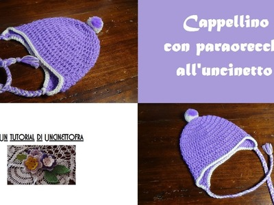 Cappellino con paraorecchie all'uncinetto tutorial