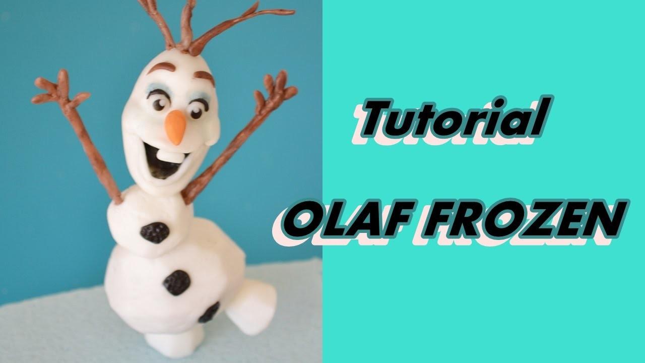 How to make OLAF FROZEN cake topper fondant - tutorial pupazzo di neve OLAF pasta di zucchero torta