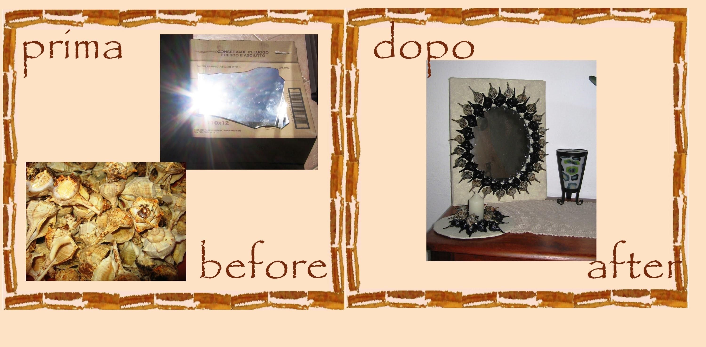 Riciclo creativo specchio rotto cartone e conchiglie - Specchio rotto sfortuna ...