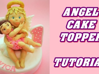 How to make ANGEL CAKE TOPPER BAPTISM FONDANT - TORTA BATTESIMO PASTA ZUCCHERO