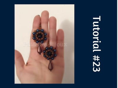 TUTORIAL PERLINE [23] - Orecchini Sonia, rivoli da 16mm. (Beading tutorial)