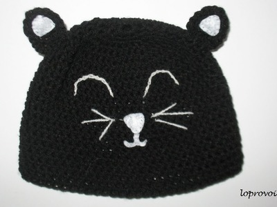 Cappellino a forma di gatto - Crochet cat hat