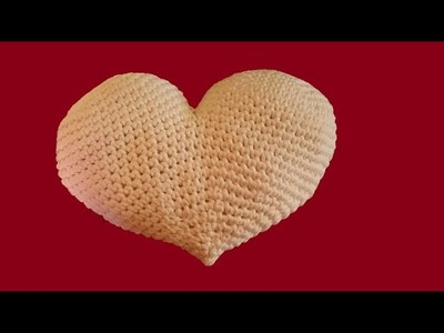 Cuscino a cuore all'uncinetto -  tutorial passo a passo