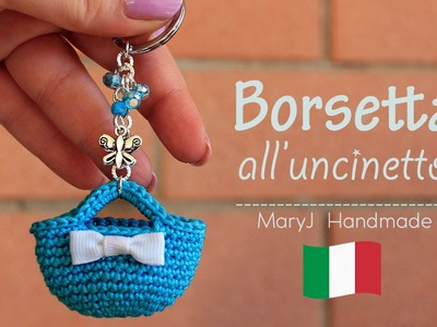Mini borsa all'uncinetto | portachiavi