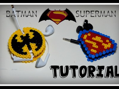 Batman vs Superman PORTA CUFFIETTE.AURICOLARI con Hama beads.Pyssla.Perler DIY Tutorial