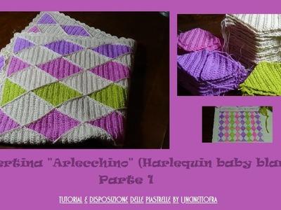 """Copertina """"Arlecchino"""" (Harlequin.diamond baby blanket) PARTE 1"""