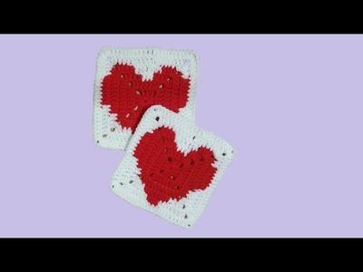 Piastrella  all'uncinetto cuore grande - tutorial passo a passo