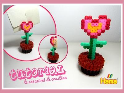 Porta Memo.Foto FIORE a Cuore nel Vaso con HAMA BEADS.PYSSLA - San Valentino Tutorial
