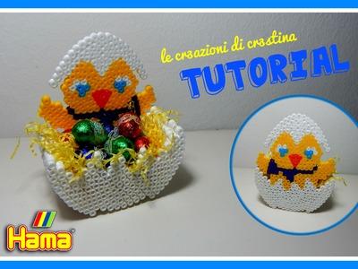 PULCINO Porta Ovetti in 3D con Perline Hama Beads.Pyssla - Tutorial per Pasqua