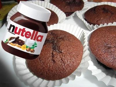 Ricetta, muffin al cioccolato con cuore di nutella e nocciole!