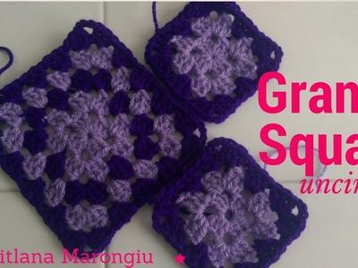 Piastrella semplice all'uncinetto - Tutorial Granny Square - Quadrato della nonna