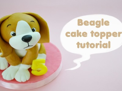 HOW TO  BEAGLE DOG CAKE TOPPER FONDANT - TUTORIAL CANE BEAGLE TORTA DECORATA IN PASTA DI ZUCCHERO