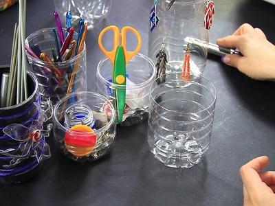 Portaoggetti creativo con riciclo plastica delle bottiglie Video Tutorial Porta Oggetti